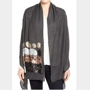 Echo | Abstract Sequin Embellished 100% Wool Scarf
